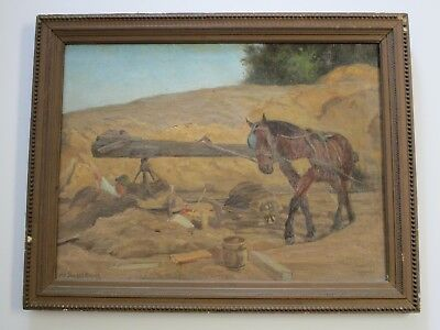 Max Stahlschmidt Antique 19Th  20Th Century Artist Painting Construction Horse