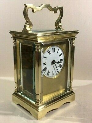 Antique Brass Carriage Clock With Masked Dial. Key.  Full Service Aug. 2019.