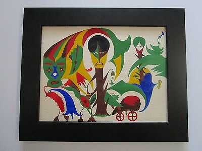 Mid Century Outsider Art Painting Abstract Surrealism Expressionism 1950'S Mod