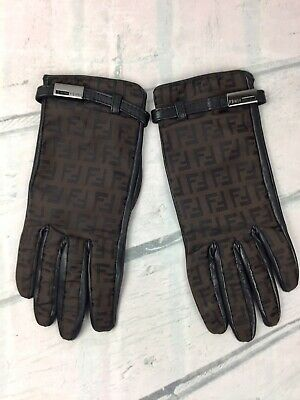 Fendi Donna Guanti In Pelle E Seta Monogram. Fendi woman gloves in FF leather.