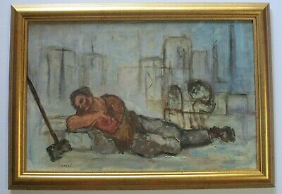 Mid Century Painting Tired Industrial Worker At Rest Expressionism Italian Vntg