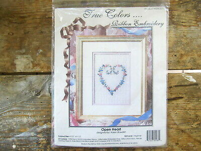 New Unopened - True Colors Ribbon Embroidery Kit - Open Heart By Karen Bowdish