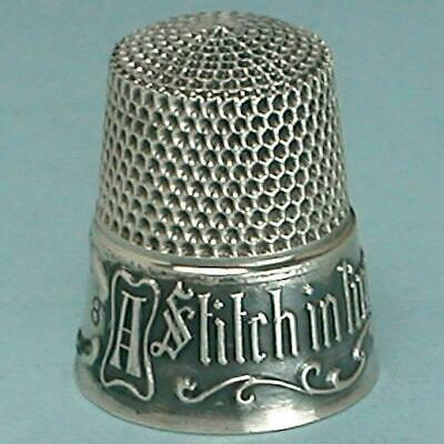 """Vintage Sterling Silver """"A Stitch In Time"""" Thimble * Circa 1940s"""