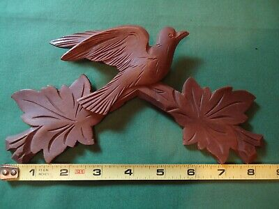 "Vintage 8-1/4"" German Cuckoo Clock Wood Topper Bird With Leaves #A"