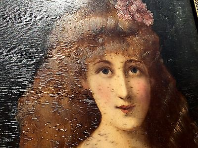 Original c 1890 ANGELO ASTI Oil Painting On Board NUDE Drape Pretty Girl SIGNED