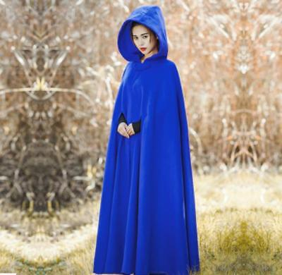 New Womens Long Cape Cloak Hooded Wool Blend Coat Sleeveless Retro Solid Tops Clothing, Shoes & Accessories Women's Clothing