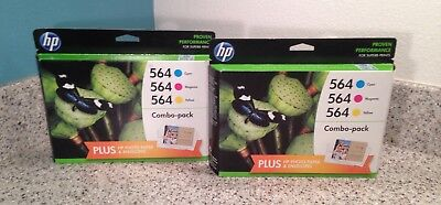 Genuine HP 564 COLOR INK CARTRIDGES 2 Combo Packs NEW SEALED BOXES Expired