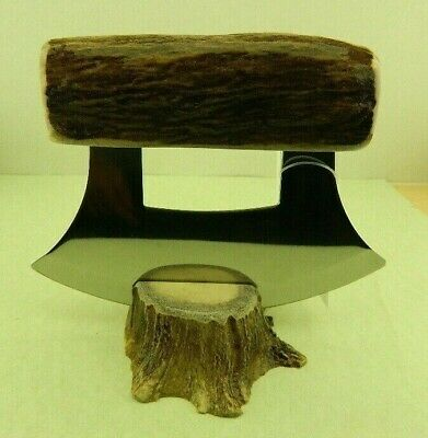 Rare Real Alaskan Alaska Eskimo Ulu Knife Moose Antler Handle & Base