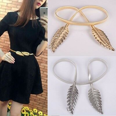 Women Elastic Metal Leaves Elastic Stretch Waist Belt Strap Cummerbund Waistband