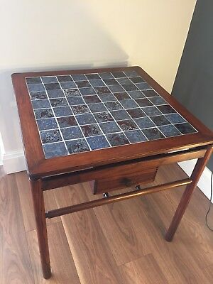 Mid Century Danish Poul Hundevad Rosewood  1960s Chess Table And Full Chess Set.