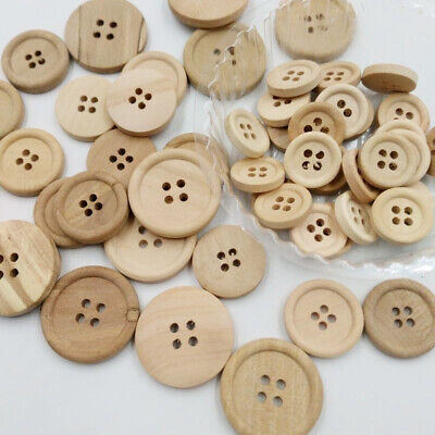 50 Pcs Wooden Buttons Natural Color Round 4 Holes Buttons Sewing Scrapbooking AU