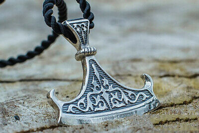 Vintage Men Silver Norse Viking Axe Amulet Stainless Steel Pendant Necklace Gift