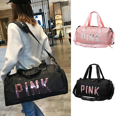 NEW Sequin Duffle Bag Yoga Holiday Gym Travel Weekend Top Women Black /Pink