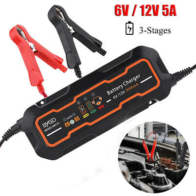 12V 5A Car Trickle RV Motorcycle 3 Step Automatic Smart With Battery Charger