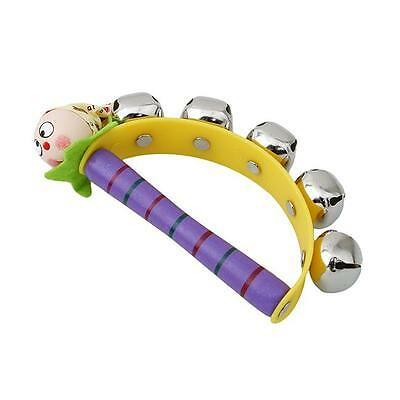 Baby Wooden Clown Hand Bell Tambourine Rattles Kids Child Educational Toy Gift