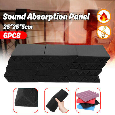 6PCS Acoustic Sound Proofing Foam Wall Panels Wedge Tiles Stereo Treatment