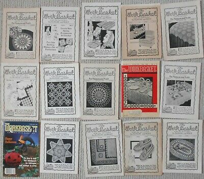 15 Vintage Work Basket Magazines Back Issue Crochet Needlework Patterns 1940-80s