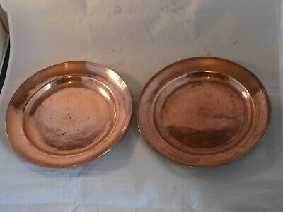 ANTIQUE? PAIR ARTS & CRAFTS HAMMERED? METAL COPPER LINED PLATES 21.5cms WIDE