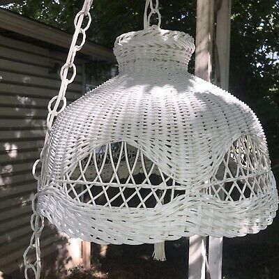 Vintage White Wicker Rattan Hanging Light Large Ceiling Swag Chain Lamp