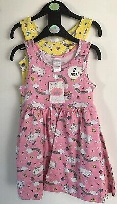 BNWT Girls Pink & Yellow Patterned 2 Pack Dresses. Age 3-4 Years