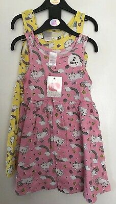 BNWT Girls Pink & Yellow Patterned 2 Pack Dresses. Age 4-5 Years