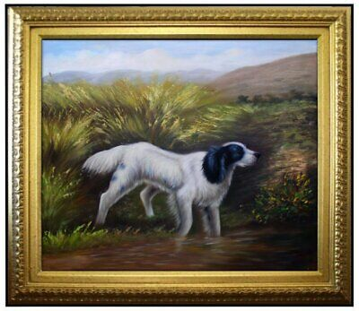 Framed Quality Hand Painted Oil Painting, Puppy Wading into Water, 20x24in