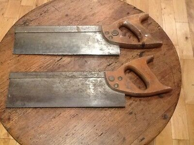 2 x Vintage Spear & Jackson Weighted Tenon Hand Saws Cast Steel Free P&P