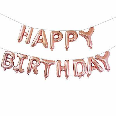 Jumbo Rose Gold Happy Birthday Bunting Banner Foil Balloon Set + Ribbon + Straw