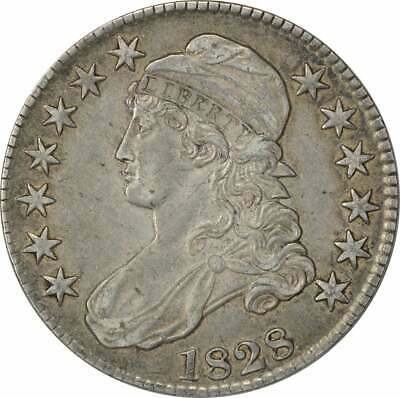 1828 Bust Half Dollar, Square Base 2, Small 8's, Large Letters, AU, Uncertified