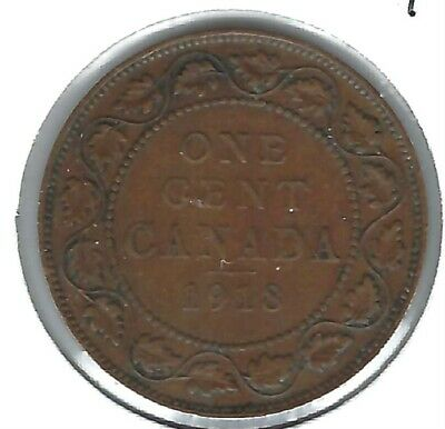 1917 Canadian Circulated XF One Large Cent George V Coin!
