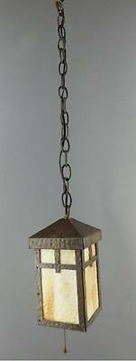 Arts & Crafts Hand Hammered Metal Slag Glass Hanging Hall Porch Light Fixture