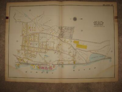 Antique 1911 Ossining Sing Sing Prison Westchester County New York Handcolor Map