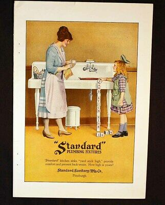 Standard Plumbing Fixtures or Marmon Automobile Fine Car Ad High Color c1919