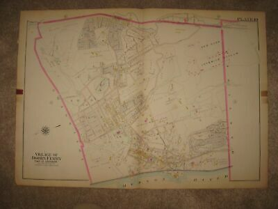 Masterpiece Antique 1911 Dobbs Ferry Westchester County New York Handcolored Map