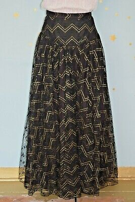90s vintage  black and gold maxi skirt  prom