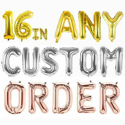 3 COLOURS Personalised Custom Name OR Message Foil Balloons + FREE 10m RIBBON
