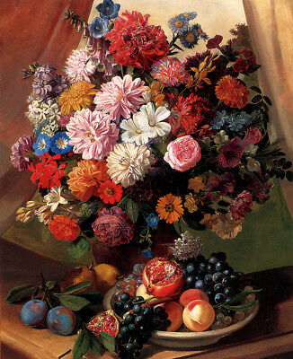 "perfect 24x36 oil painting handpainted on canvas""flowers and fruits""@N12854"