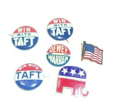 Republican Political Pins Buttons Taft Dewey Warren & Patroit Pin Lot    T*