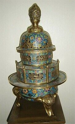 Antique Chinese Qing Dynasty Old Cloisonne Incense Burner