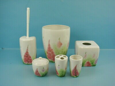 Floral Ceramic Bath Accessory Set Garbage Can Tissue Toothbrush Holder Brush