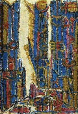 Untitled, 1956 by Moshe Tamir, Oil on Canvas, 65X46 cm, Signed by Artist