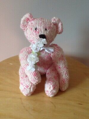 "Teddy Bear Hand Knitted Pink & White With Flowers White Ribbon Small 6"" Sitting"