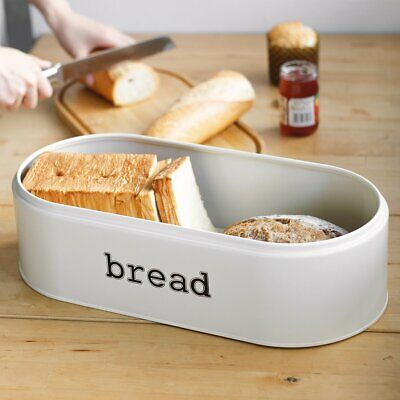 Metal Bread Box for Kitchen Counter Vintage & Retro Bread Bin with Bamboo Lid