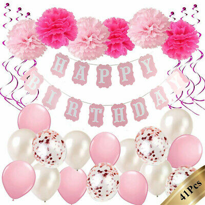 Happy Birthday Party Decorations Banner Bunting Balloons Adult/Child 16th-70th