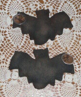 2 Primitive Farmhouse Halloween Black Bats Bowl Fillers Ornaments Ornies Tucks