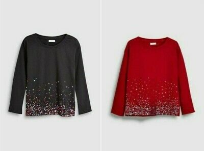NEW RRP £17.99 Next Long Sleeve Sequin T-Shirt                              (IW)