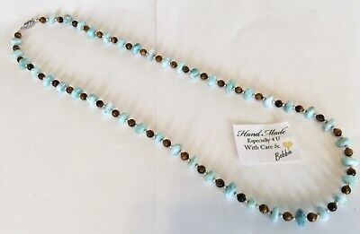 Amazing handcrafted AAA Larmair tiger eye Necklace  925 silver 28 inches long