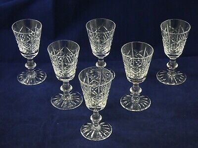 Six 6 Beautiful Edinburgh Crystal Highland Sherry Glasses