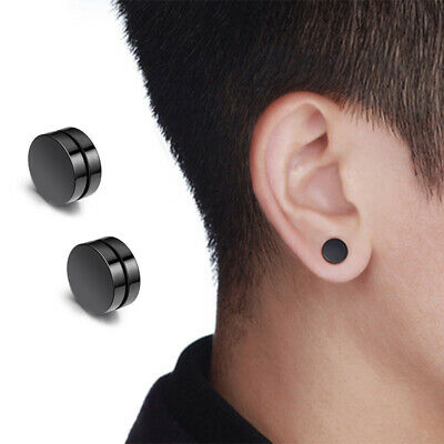 MENS Magnetic Flat Circle Earrings round big large clip on no hole Non Piercing