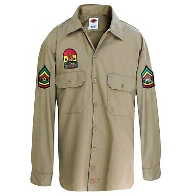 King Selassie Lion Of Judah Africa Reggae Jamaica Khaki Patch Shirt Rasta [ LT ]
